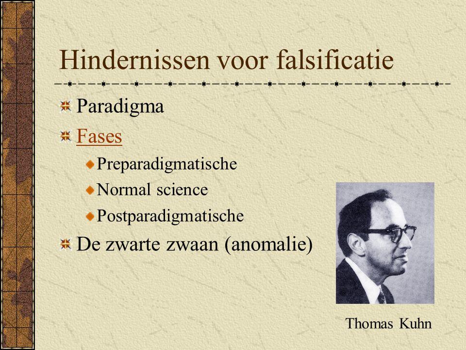 Hindernissen voor falsificatie Paradigma Fases Preparadigmatische Normal science Postparadigmatische De zwarte zwaan (anomalie) Thomas Kuhn