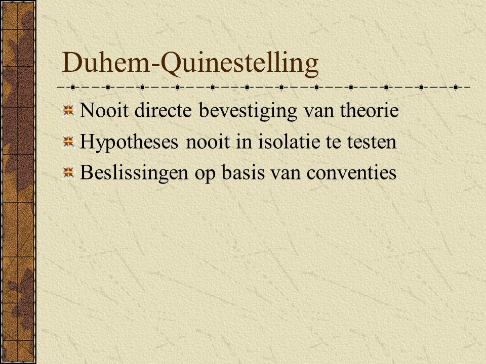 Duhem-Quinestelling Nooit directe bevestiging van theorie Hypotheses nooit in isolatie te testen Beslissingen op basis van conventies
