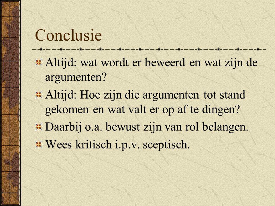 Conclusie Altijd: wat wordt er beweerd en wat zijn de argumenten.