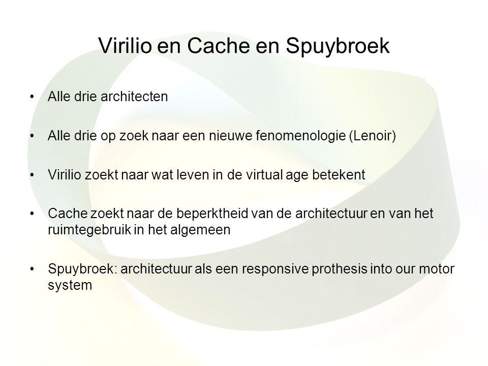 Virilio en Cache en Spuybroek Alle drie architecten Alle drie op zoek naar een nieuwe fenomenologie (Lenoir) Virilio zoekt naar wat leven in de virtua