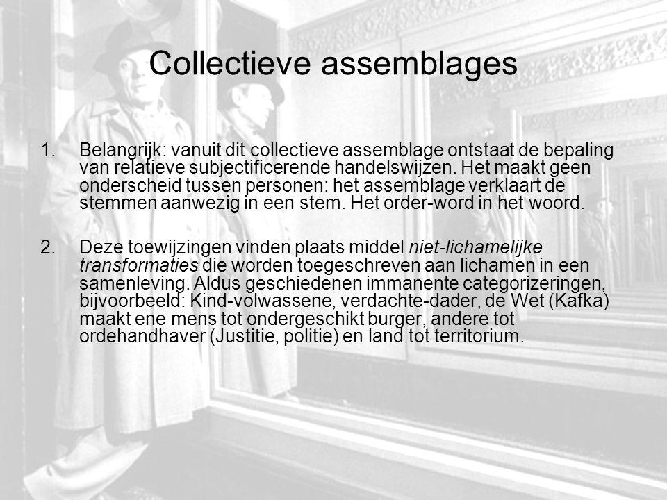Collectieve assemblages 1.Belangrijk: vanuit dit collectieve assemblage ontstaat de bepaling van relatieve subjectificerende handelswijzen.