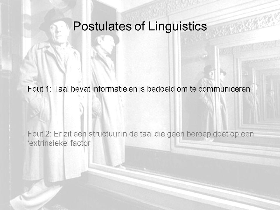 Postulates of Linguistics Fout 1: Taal bevat informatie en is bedoeld om te communiceren Fout 2: Er zit een structuur in de taal die geen beroep doet op een 'extrinsieke' factor