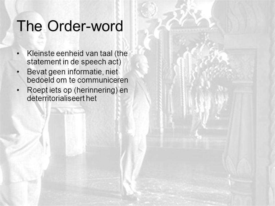 The Order-word Kleinste eenheid van taal (the statement in de speech act) Bevat geen informatie, niet bedoeld om te communiceren Roept iets op (herinn