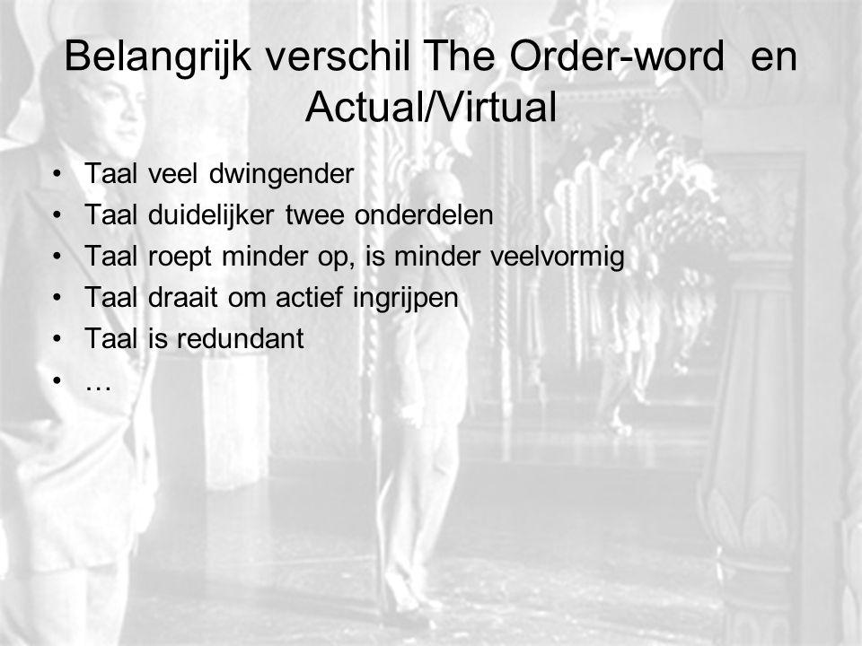Belangrijk verschil The Order-word en Actual/Virtual Taal veel dwingender Taal duidelijker twee onderdelen Taal roept minder op, is minder veelvormig
