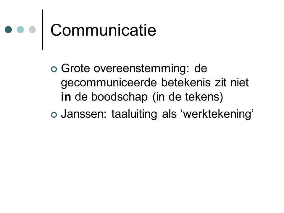 Bijvoorbeeld Stuart Hall: dominant or preferred meanings Grice: coöperatieprincipe / maximes (Houtkoop) Austin / Searle: taalhandelingen en geslaagdheidsvoorwaarden (Houtkoop)