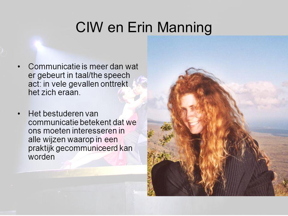 CIW en Erin Manning Communicatie is meer dan wat er gebeurt in taal/the speech act: in vele gevallen onttrekt het zich eraan.