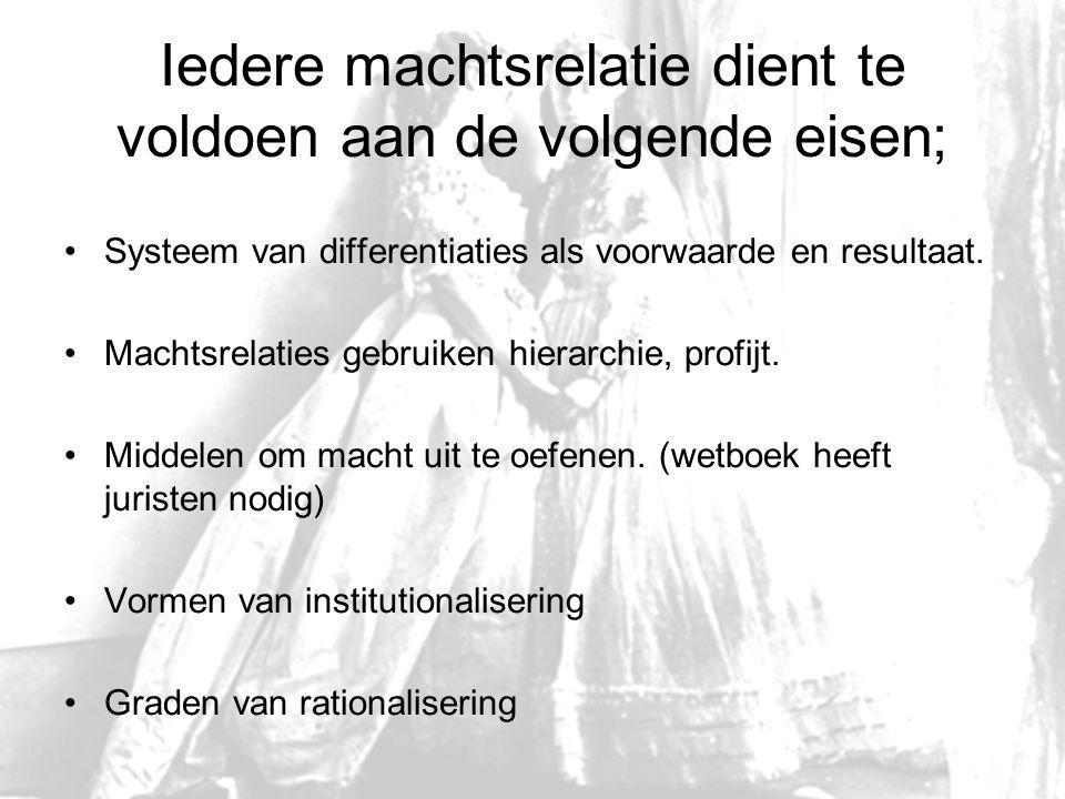Iedere machtsrelatie dient te voldoen aan de volgende eisen; Systeem van differentiaties als voorwaarde en resultaat. Machtsrelaties gebruiken hierarc