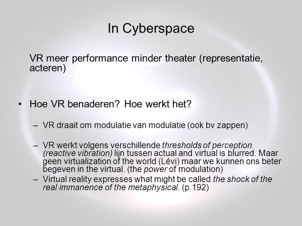 In Cyberspace VR meer performance minder theater (representatie, acteren) Hoe VR benaderen.