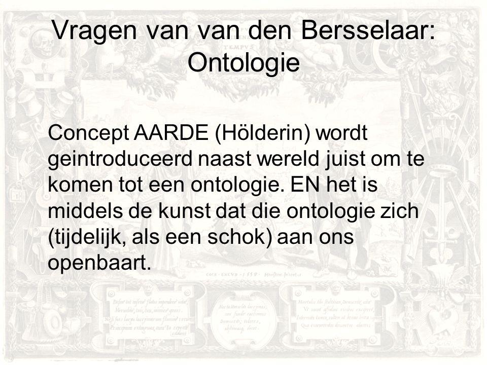 Vragen van van den Bersselaar: Ontologie Concept AARDE (Hölderin) wordt geintroduceerd naast wereld juist om te komen tot een ontologie.