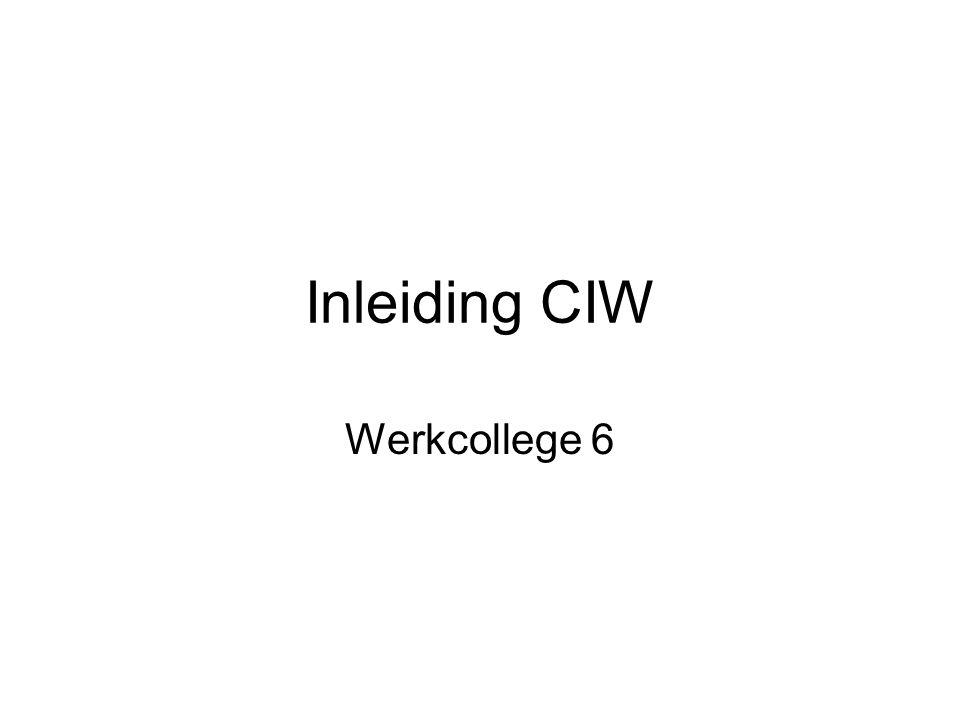 Inleiding CIW Werkcollege 6