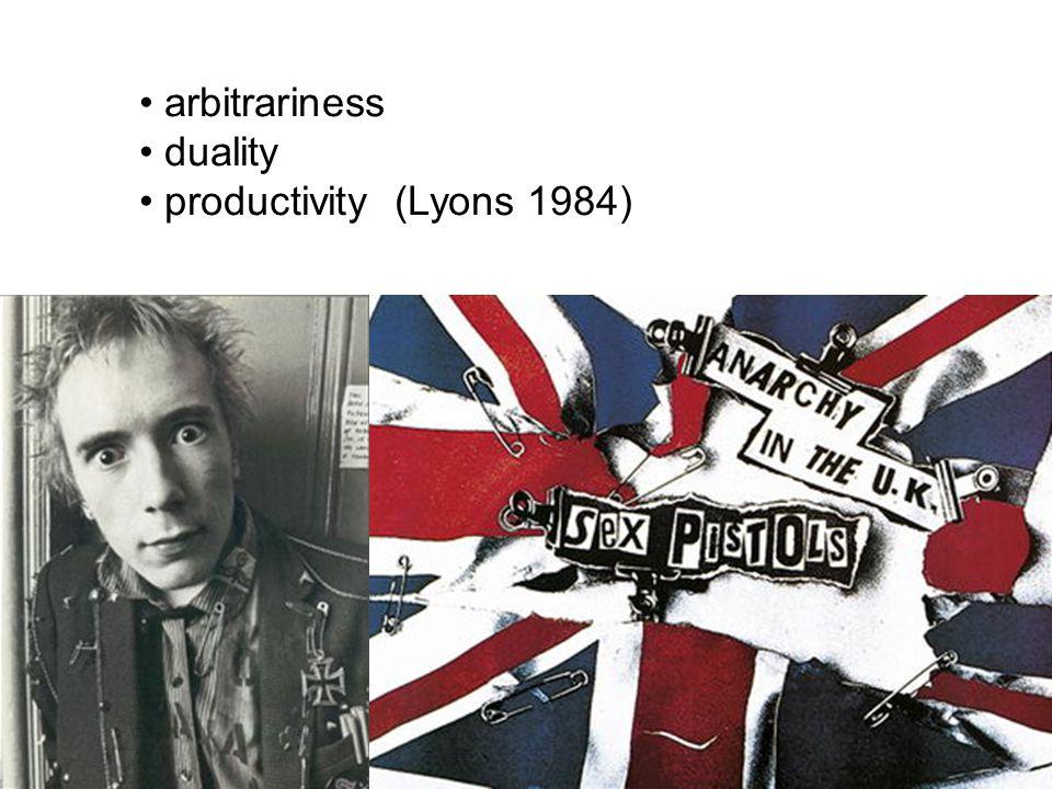 arbitrariness duality productivity (Lyons 1984)
