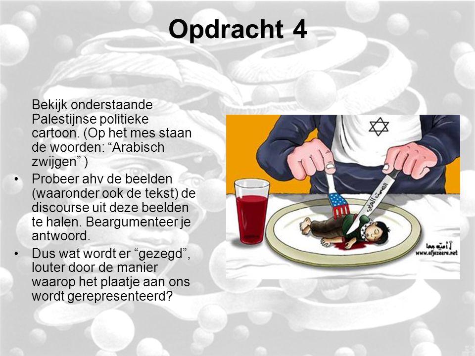 Opdracht 4 Bekijk onderstaande Palestijnse politieke cartoon.