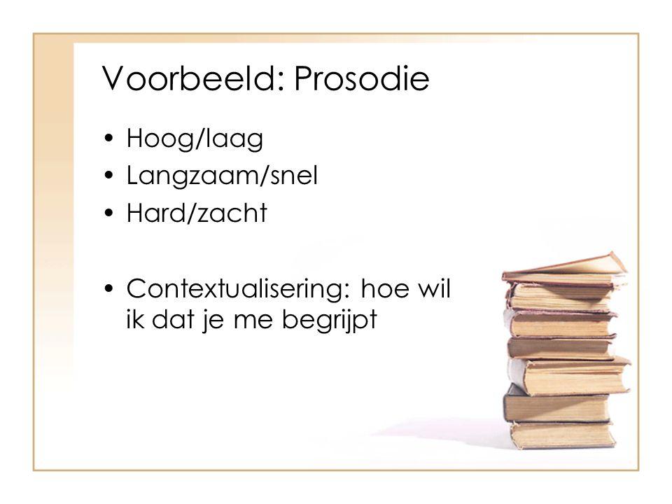 Voorbeeld: Prosodie Hoog/laag Langzaam/snel Hard/zacht Contextualisering: hoe wil ik dat je me begrijpt