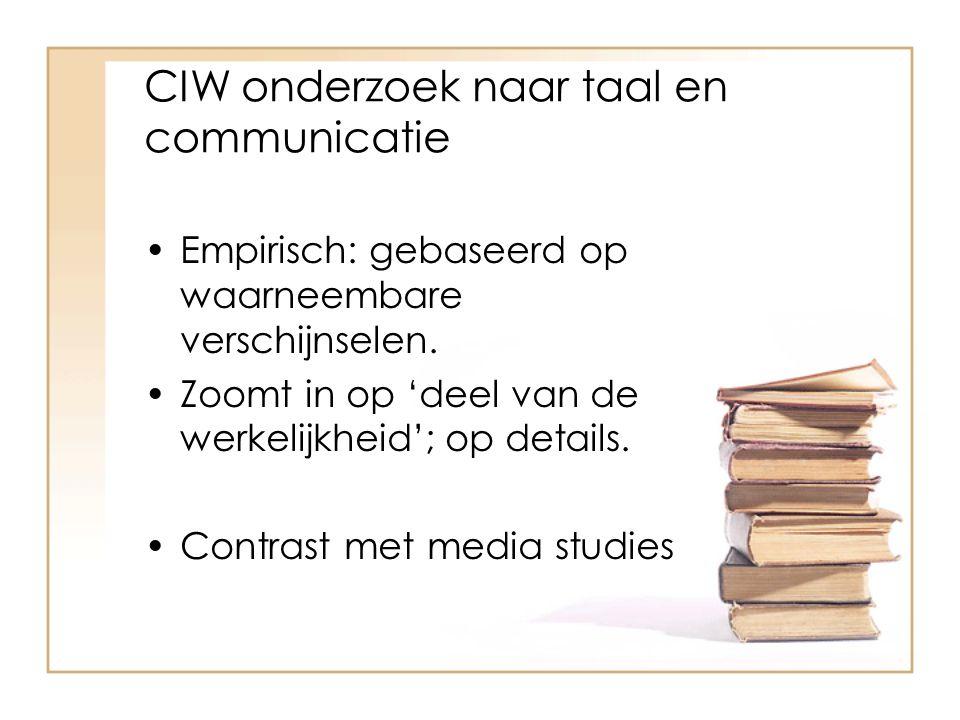 CIW onderzoek naar taal en communicatie Empirisch: gebaseerd op waarneembare verschijnselen. Zoomt in op 'deel van de werkelijkheid'; op details. Cont