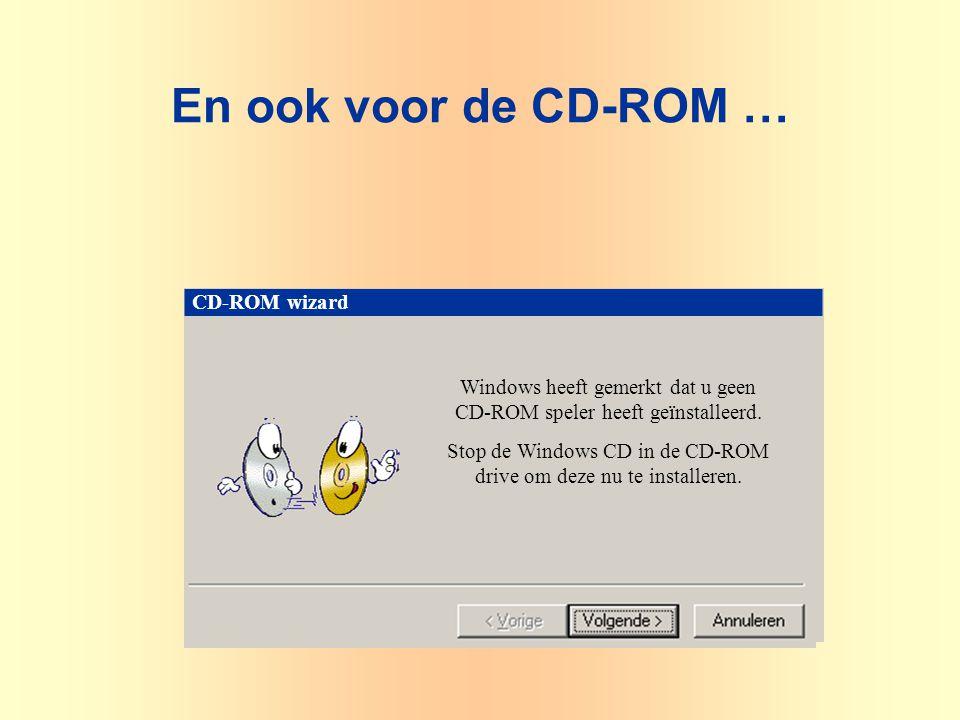 CD-ROM wizard Windows heeft gemerkt dat u geen CD-ROM speler heeft geïnstalleerd.