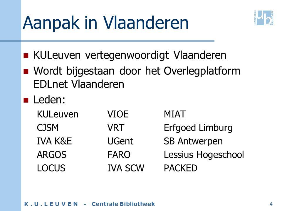 K. U. L E U V E N - Centrale Bibliotheek 4 Aanpak in Vlaanderen KULeuven vertegenwoordigt Vlaanderen Wordt bijgestaan door het Overlegplatform EDLnet