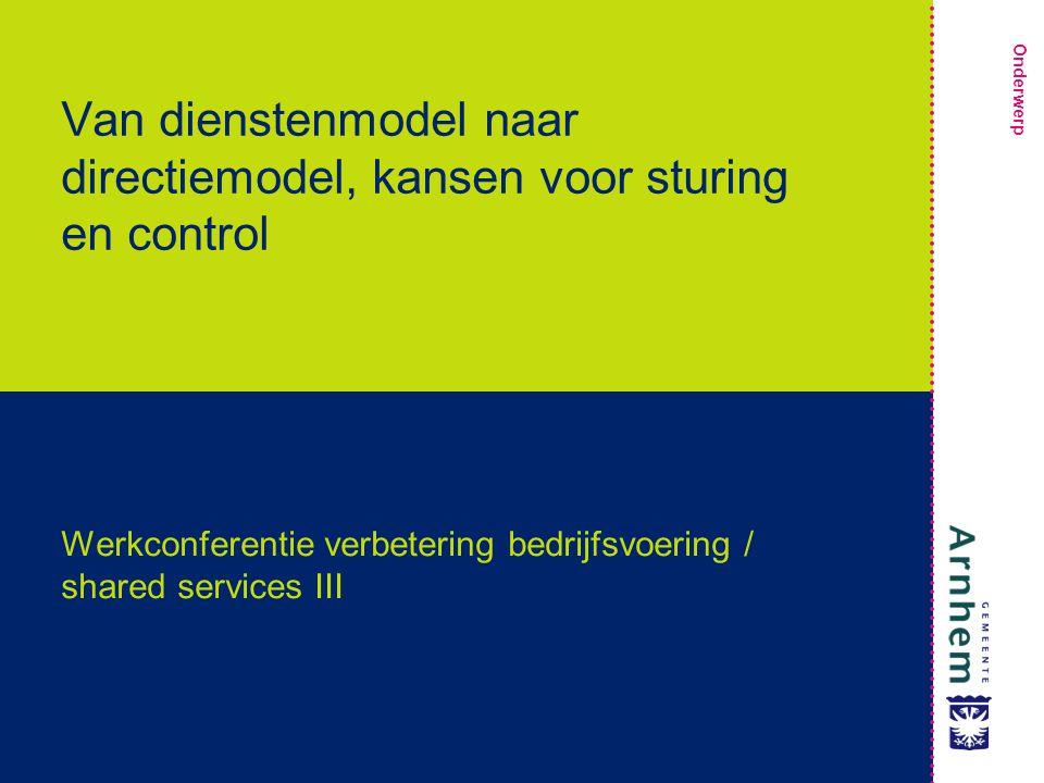 Onderwerp Van dienstenmodel naar directiemodel, kansen voor sturing en control Werkconferentie verbetering bedrijfsvoering / shared services III