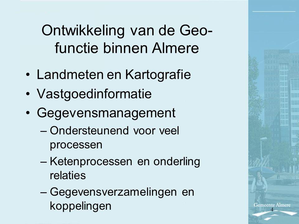 Ontwikkeling van de Geo- functie binnen Almere Landmeten en Kartografie Vastgoedinformatie Gegevensmanagement –Ondersteunend voor veel processen –Kete