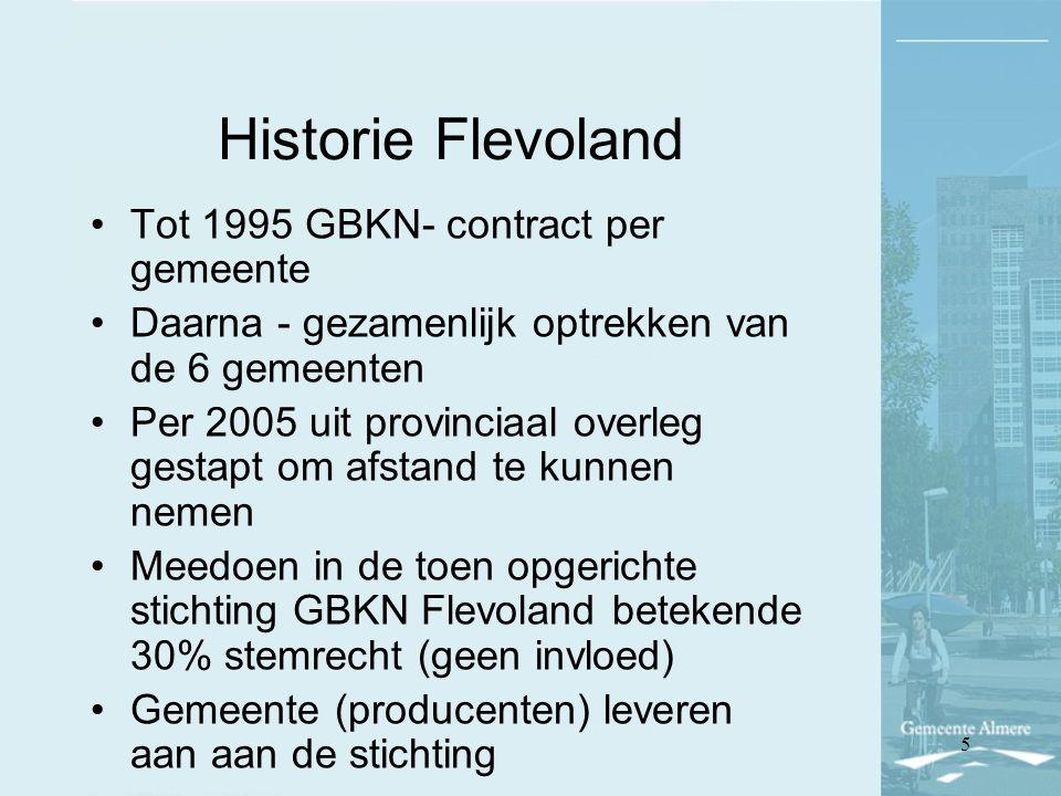 Historie Flevoland Tot 1995 GBKN- contract per gemeente Daarna - gezamenlijk optrekken van de 6 gemeenten Per 2005 uit provinciaal overleg gestapt om