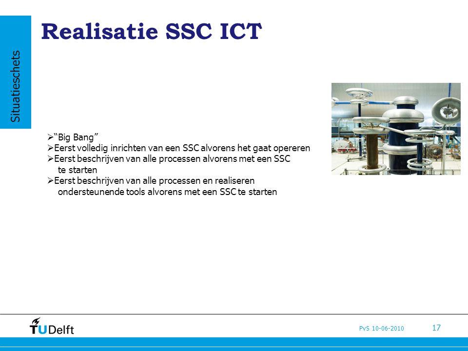 PvS 10-06-2010 17 Realisatie SSC ICT  Big Bang  Eerst volledig inrichten van een SSC alvorens het gaat opereren  Eerst beschrijven van alle processen alvorens met een SSC te starten  Eerst beschrijven van alle processen en realiseren ondersteunende tools alvorens met een SSC te starten Situatieschets