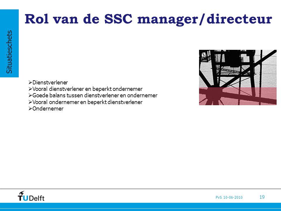 PvS 10-06-2010 19 Rol van de SSC manager/directeur  Dienstverlener  Vooral dienstverlener en beperkt ondernemer  Goede balans tussen dienstverlener