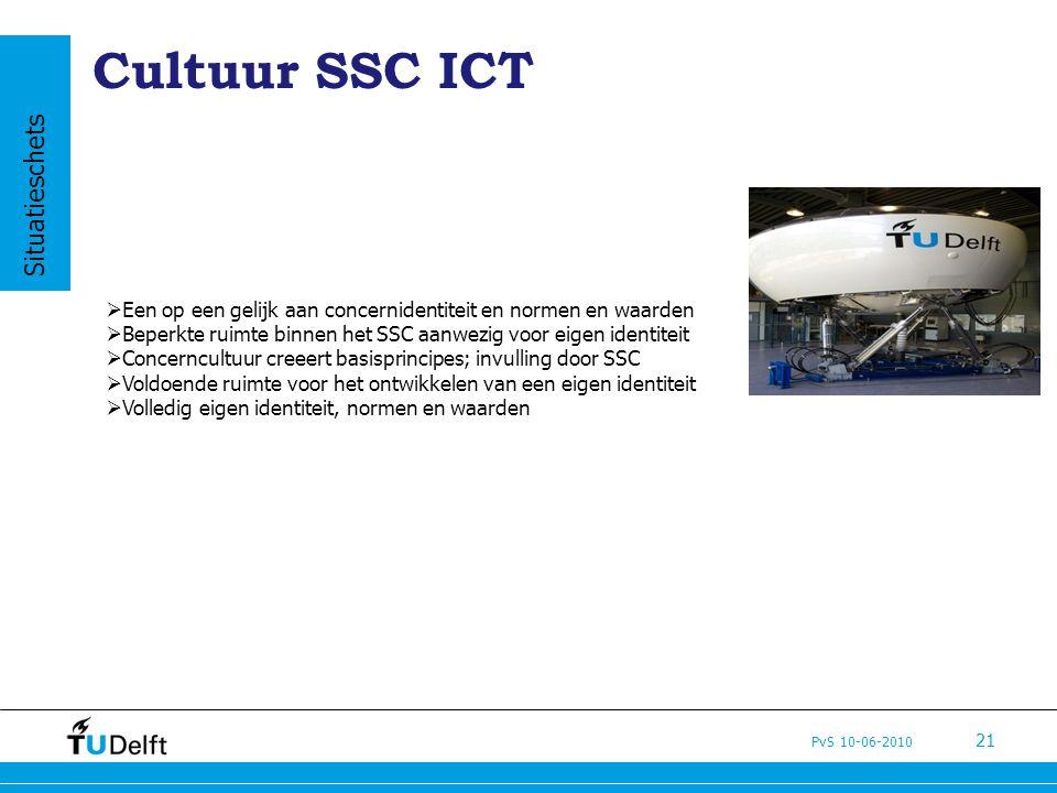 PvS 10-06-2010 21 Cultuur SSC ICT  Een op een gelijk aan concernidentiteit en normen en waarden  Beperkte ruimte binnen het SSC aanwezig voor eigen