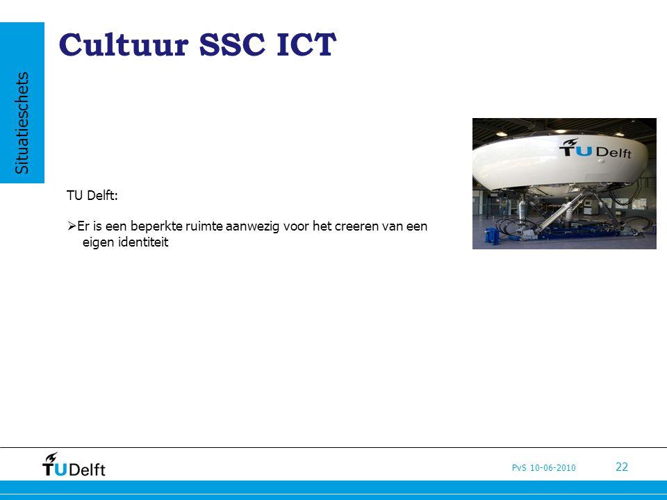 PvS 10-06-2010 22 Cultuur SSC ICT TU Delft:  Er is een beperkte ruimte aanwezig voor het creeren van een eigen identiteit Situatieschets