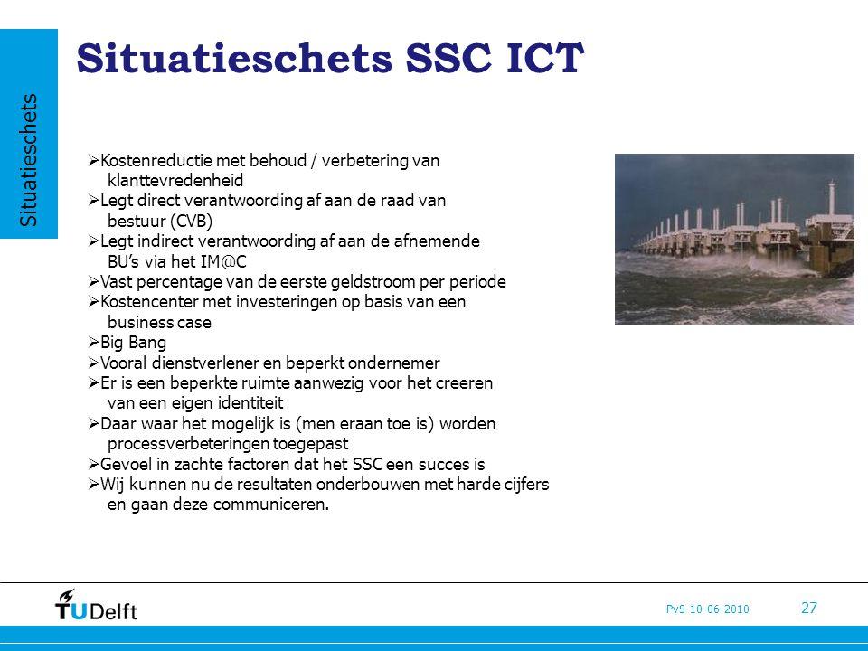 PvS 10-06-2010 27 Situatieschets SSC ICT  Kostenreductie met behoud / verbetering van klanttevredenheid  Legt direct verantwoording af aan de raad v