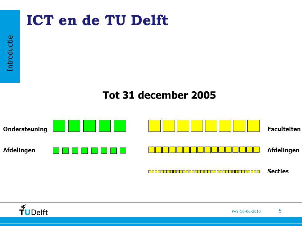 PvS 10-06-2010 5 ICT en de TU Delft Tot 31 december 2005 Faculteiten Afdelingen Secties Ondersteuning Afdelingen Introductie