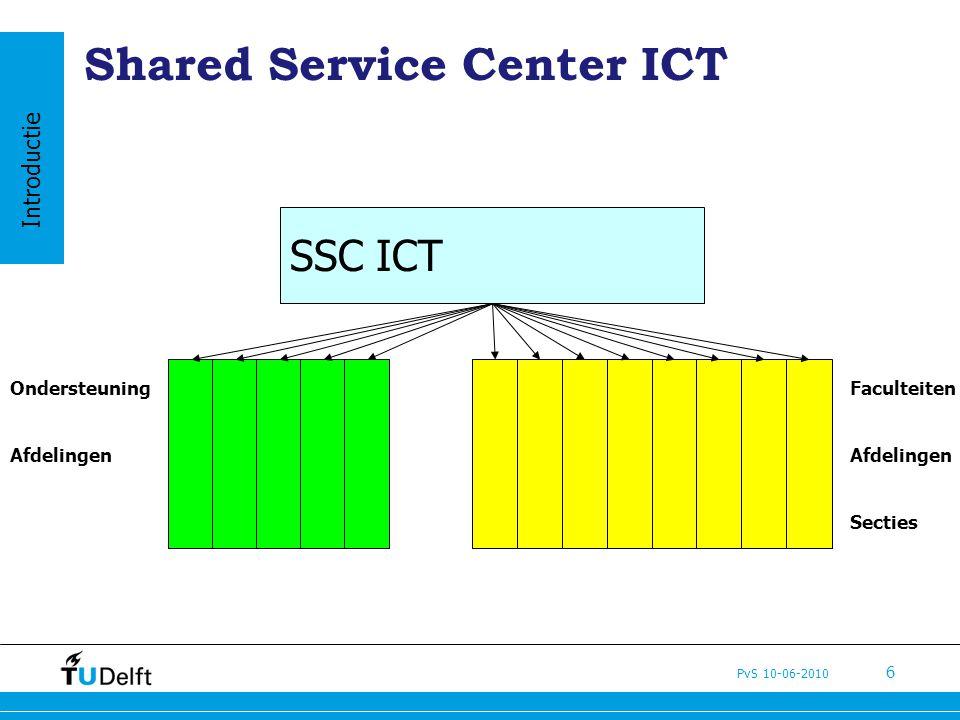 PvS 10-06-2010 6 Shared Service Center ICT Faculteiten Afdelingen Secties Ondersteuning Afdelingen SSC ICT Introductie