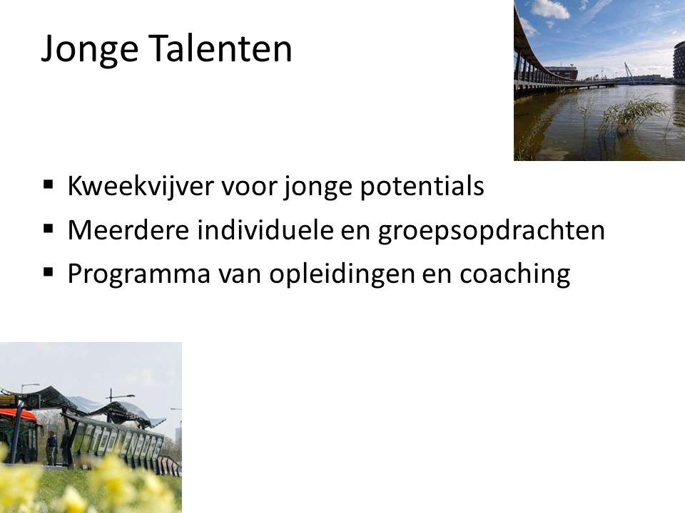  Kweekvijver voor jonge potentials  Meerdere individuele en groepsopdrachten  Programma van opleidingen en coaching Jonge Talenten