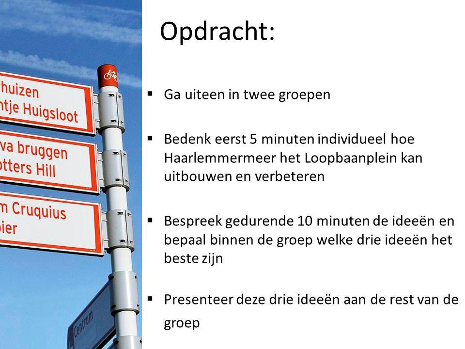 Opdracht:  Ga uiteen in twee groepen  Bedenk eerst 5 minuten individueel hoe Haarlemmermeer het Loopbaanplein kan uitbouwen en verbeteren  Bespreek