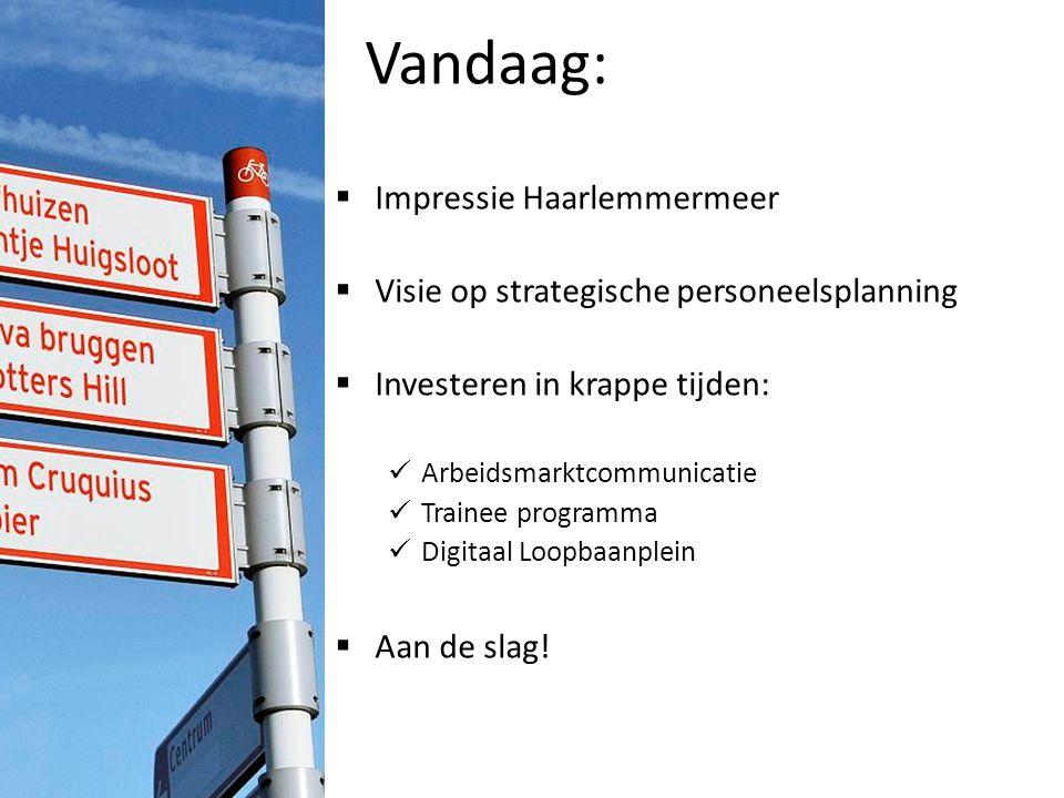Vandaag:  Impressie Haarlemmermeer  Visie op strategische personeelsplanning  Investeren in krappe tijden: Arbeidsmarktcommunicatie Trainee program