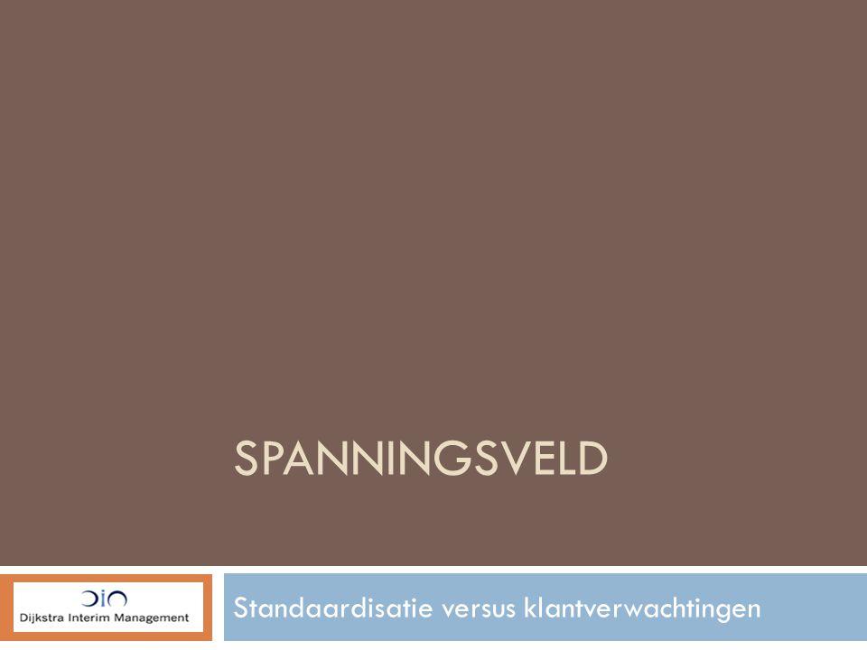 SPANNINGSVELD Standaardisatie versus klantverwachtingen