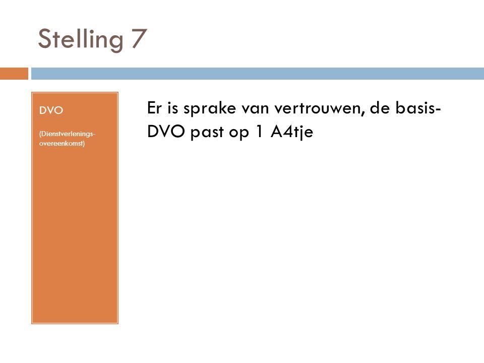 Stelling 7 DVO (Dienstverlenings- overeenkomst) Er is sprake van vertrouwen, de basis- DVO past op 1 A4tje