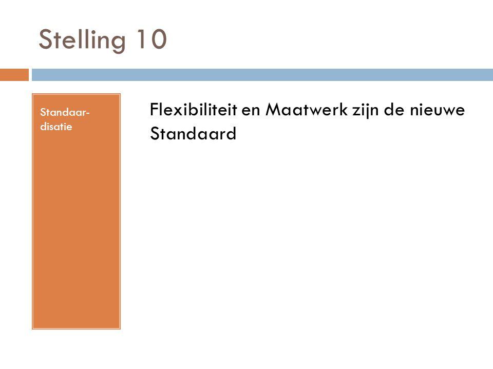Stelling 10 Standaar- disatie Flexibiliteit en Maatwerk zijn de nieuwe Standaard