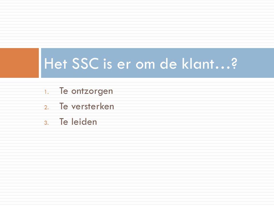 1. Te ontzorgen 2. Te versterken 3. Te leiden Het SSC is er om de klant…?
