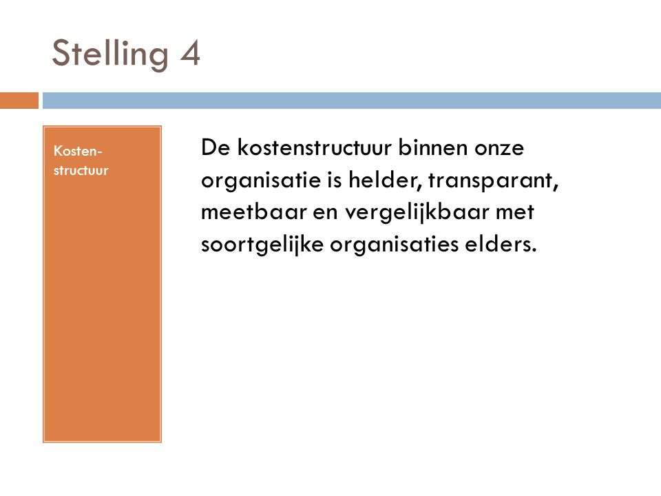 Stelling 4 Kosten- structuur De kostenstructuur binnen onze organisatie is helder, transparant, meetbaar en vergelijkbaar met soortgelijke organisatie