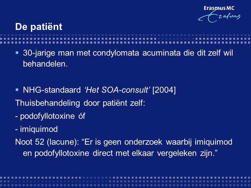 De patiënt  30-jarige man met condylomata acuminata die dit zelf wil behandelen.  NHG-standaard 'Het SOA-consult' [2004] Thuisbehandeling door patië