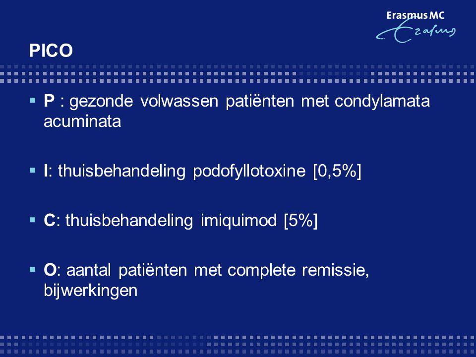 PICO  P : gezonde volwassen patiënten met condylamata acuminata  I: thuisbehandeling podofyllotoxine [0,5%]  C: thuisbehandeling imiquimod [5%]  O