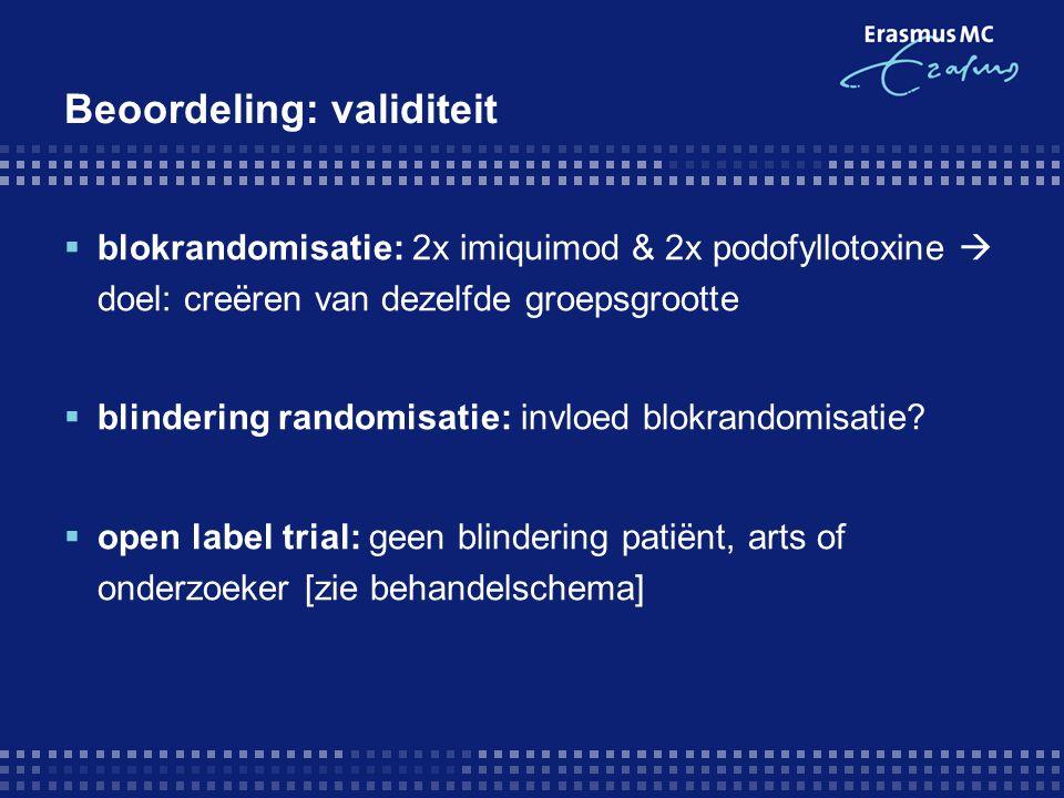 Beoordeling: validiteit  blokrandomisatie: 2x imiquimod & 2x podofyllotoxine  doel: creëren van dezelfde groepsgrootte  blindering randomisatie: in