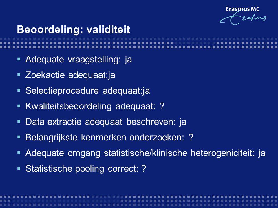 Beoordeling: validiteit  Adequate vraagstelling: ja  Zoekactie adequaat:ja  Selectieprocedure adequaat:ja  Kwaliteitsbeoordeling adequaat: ?  Dat