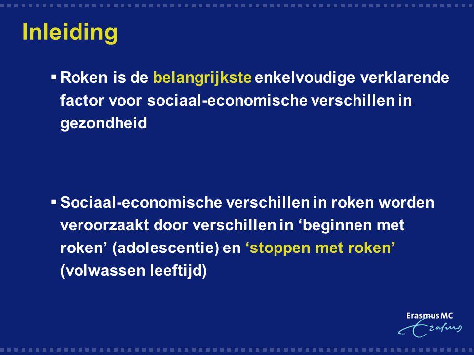 Inleiding  Roken is de belangrijkste enkelvoudige verklarende factor voor sociaal-economische verschillen in gezondheid  Sociaal-economische verschi