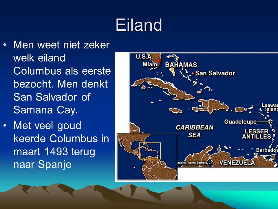 Eiland Men weet niet zeker welk eiland Columbus als eerste bezocht.