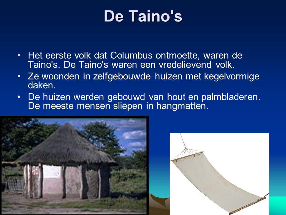 De Taino s Het eerste volk dat Columbus ontmoette, waren de Taino s.