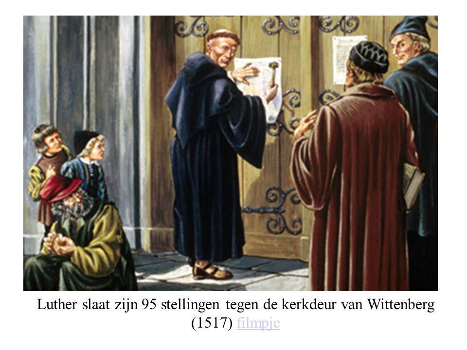 Luther slaat zijn 95 stellingen tegen de kerkdeur van Wittenberg (1517) filmpjefilmpje