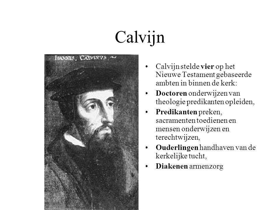 Calvijn Calvijn stelde vier op het Nieuwe Testament gebaseerde ambten in binnen de kerk: Doctoren onderwijzen van theologie predikanten opleiden, Pred