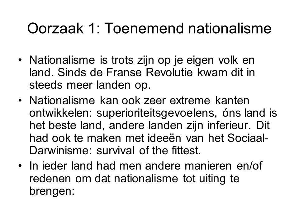 Oorzaak 1: Toenemend nationalisme Nationalisme is trots zijn op je eigen volk en land. Sinds de Franse Revolutie kwam dit in steeds meer landen op. Na