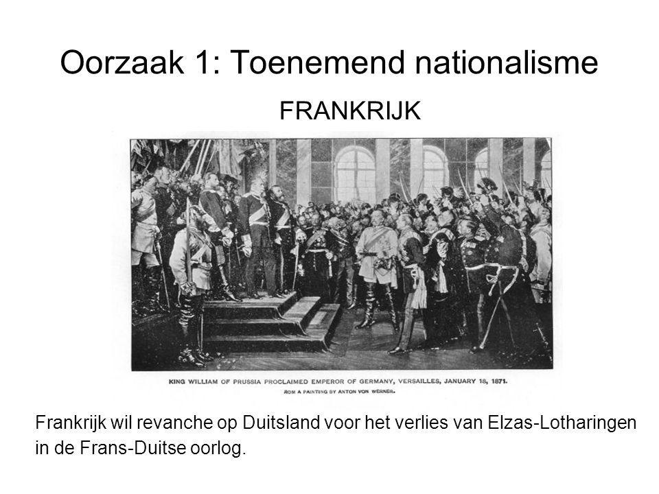 Oorzaak 1: Toenemend nationalisme FRANKRIJK Frankrijk wil revanche op Duitsland voor het verlies van Elzas-Lotharingen in de Frans-Duitse oorlog.