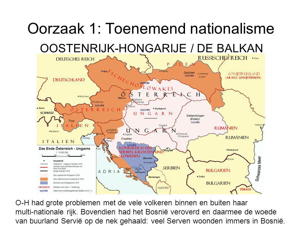 Oorzaak 1: Toenemend nationalisme OOSTENRIJK-HONGARIJE / DE BALKAN O-H had grote problemen met de vele volkeren binnen en buiten haar multi-nationale